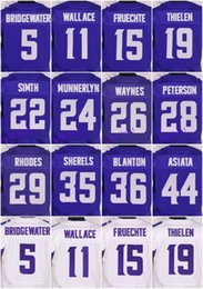 Wholesale 2016 Minnesota football jersey Vikings Soccer rugby jerseys Smith Peterson Bridgewater Purple White freeshipping