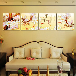 Unframed 4 Pieces art picture Home decoration free shipping Canvas Printing yoga sea sandy beach chinese characters flower branch