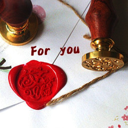 Wholesale-DIY Envelope Seal Stamp Wood Metal Sealing Wax Stamps Vintage Retro Romantic Love Thank You Miss you Good Luck For You