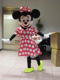 Wholesale Grosses soldes Costume de mascotte de Minnie Mouse rouge Costume de costume d Holloween de taille d adulte EPE Head Livraison gratuite