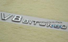 Wholesale V8 BITURBO Silver Letter Rear Trunk Boot Car Auto Badge D V8 BITURBO Side Wing ABS Auto Car Sticker Emblem