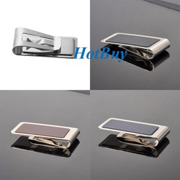 3 Colors Stainless Steel Silver 55mmx26mm 2016 1PC Blue PU Leather Steel Money Clip Credit Card ID Slim Wallet Holder #3968
