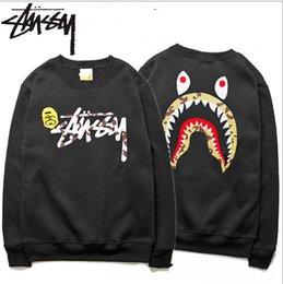 Wholesale Men s Sportwear Coat Jogger Tracksuit Pullover Fleece Sweatshirt Crewneck Bird OVO Drake Black Hip Hop stusay Hoodie Men Shark mouth print