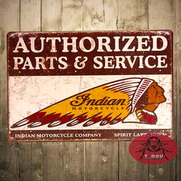 Wholesale Metal Poster Tin signs quot Indian Motorcycles quot Authorized Parts Service Garage Pub Bar Home Wall Decor With Striking Man Cave