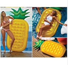 Wholesale New to the Pool Float inch CM Pine apple Air Mattress Inflatable Pool Fruit Holiday Inflatable Swim RING Water Toy B