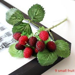 9 small fruit decoration flower artificial fruit paddle Red and Green strawberry photo props Artificial plant