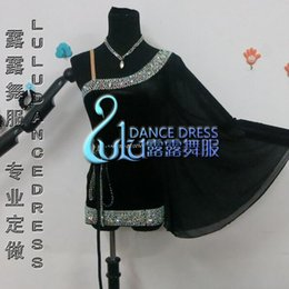 Custom Latin Dance Dress Rhinestones Clothing For Dance Stage Costumes ChaCha Dancing Dress For Women Black Dancewear Competition Dress