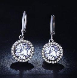 Wholesale Wedding Luxury White Gold Plated Earing CZ diamond AAA Brincos Dangle Drop Long Earrings for Women MSE021