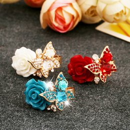 Wholesale 2016Top Quality Adjustable Resin Cocktail Rings for Women K Gold Plated Rose Flower and Butterfly Party Rings Bague Femme