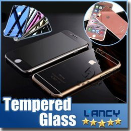 Wholesale Gold Mirror Effect Colored Tempered Glass Colorful Screen Protector Front and Back For iphone Plus s plus High Quality Explosion Proof