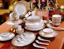 China réglé 56 en Ligne-Ensemble de vaisselle en céramique en or à la qualité 56 pièces de vaisselle en porcelaine set set festive gift
