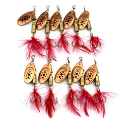 Hengjia 10Pcs New Metal Spoon Spinnerbait Fishing Lures With Red Feather Hooks Wobbler Sequins Baits 6.5CM 5.3G
