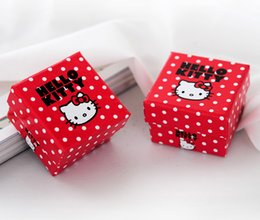 [Simple Seven]Hello Kitty Lovely Ring Box  Festival Earring Carrying Case Red Earring Studs Display  Gift Jewelry Box