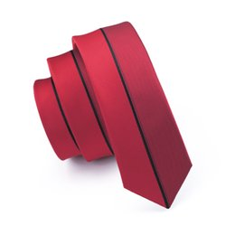 Brand New Fashion Jacquard Skinny Necktie 5.5cm Narrow Slim Tie Red Stripes Men Festival Gift Neck Ties For Men Korea Version E-238