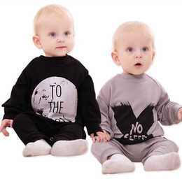 Wholesale christmas pajamas letter cotton kids pajamas Baby leotard Spring Autumn gray black christmas gift babay pajama