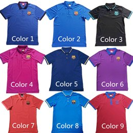 Wholesale 2016 New Barcelona Jerseys Polo Shirt Messi Soccer Training Tee neymar jr Suarez Blue Red Purple Pink men soccer Wear Football Shirts Cloth