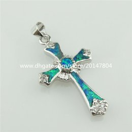 Wholesale 20321 Sterling Silver Rhinestone Faith Cross Lucky Blue Australian Opal Pendant