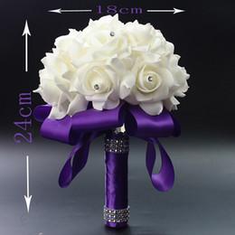 Wholesale 2016 Elegant Rose Artificial Bridal Flowers Bride Bouquet Wedding Bouquet Crystal Royal Blue Silk Ribbon New Wedding favors Colors
