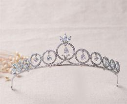 Princess Crown Tiara Wedding Bridal Silver Crystal Rhinestone Hair Accessories Headband Jewelry Headpiece Queen Crown Women Party Jewelry