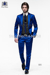 Wholesale-New Arrival One Button Royal Blue Groom Tuxedos Groomsmen Mens Wedding Suits Prom Bridegroom (Jacket+Pants) NO:313