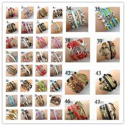 Wholesale 30pcs Designs Leather Bracelet Antique Cross Anchor Love Peach Heart Owl Bird Believe Pearl Knitting Bronze Charm Bracelets C2182