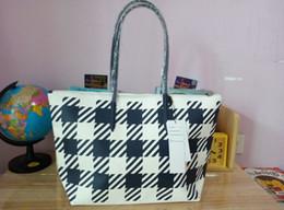 Wholesale new style women PVC pattern classic plaid dumplings dark blue handbag shoulder shopping bag