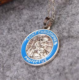Wholesale-Inspirational st christopher necklace round initial pendant Patron Saint of Travelers vintage religious charm Agios Christoforos