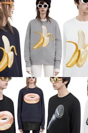 Wholesale 2016 acne limited donuts banana microphone embroidery sweatshirt lovers men women cool street fashion tops