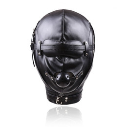 Wholesale Sex Collar Leashes - Fetish PU Leather Bondage Mask Head Harness Sex Slave Collar and Leash Mouth Gag bdsm Bondage Hood Sex Toys for Couples