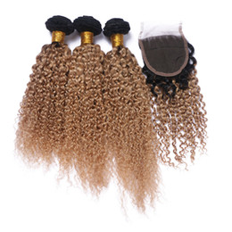 Brazilian 9A Ombre Color Kinky Curly Hair Bundles With Lace Closure 2 Tone 1B 27 Hair weaves With Top Closure 4Pcs Lot