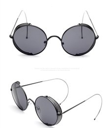 2016 Metal Gothic Steampunk Goggles Vintage Coating Round Metal Sunglasses with earhook Classic Retro Design Eyewear Sunglasses