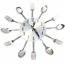 Wholesale Knife Fork Spoon Originality Clock Kitchen Restaurant Wall Decoration Modern Design Large D Wall Clock Watches Home Office Decor