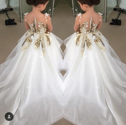 2018 Lovely Flower Girls Dresses For Weddings Long Sleeves Gold Sequins Pageant Party Gowns First Communion Dress For Child Teens Custom