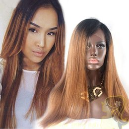 Two Tone 1B 30 Peruvian Glueless Full Lace Human Hair Wigs Silky Straight Ombre Lace Front Wigs Bleached Knots 150% Density