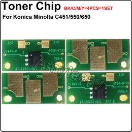 Wholesale C451 C550 C650 toner Chip Photocopier reset chip For Konica Minolta bizhub TN411 TN611 K C M Y Toner Cartridge Chip