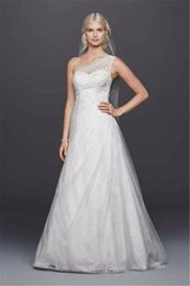 Wholesale One Shoulder Tulle Overlay A line with Lace Wedding Dress WG3790 Pick Up Skirt Airy Grace Bridal Dress