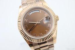 Promotion regarder rose d'or Haute qualité Rose d'or mens nouvelle arrivel automatique montre-bracelet mécanique cadeau 41mm DayDate 218238