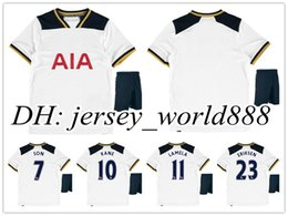 Wholesale best quality kids home white soccer Jersey Kits SON KANE LAMELA ERIKSEN Away blue Gold child youth Football Shirt