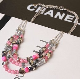 Fashion Korean Style Pink Opals Necklace Cat's Eye Exaggeration Three Layers Short Sweater Necklace Bib Statement Necklaces for Women Girls