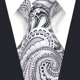 S7 Paisley Floral White Light Gray Grey Silver Black Extra Long Size Fashion Mens Necktie Tie 100% Silk