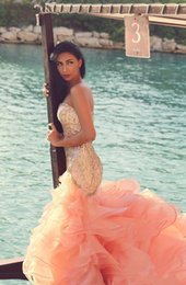 2018 Arabic Evening Dresses Sweetheart Crystal Beaded Mermaid Peach Organza Formal Party Prom Gowns Long Ruffles Tiered Dubai Abaya Dress