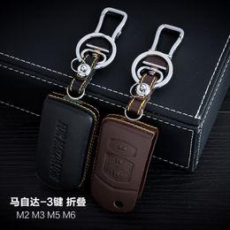100% Genuine Leather Car Key Case Cover 3 Buttons Folding For Mazda M2 M3 M5 M6 Car Key Holder Bag Car Key Accessorie