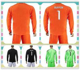 Wholesale New Product Uniforms Kit Long Sleeve Juventus Soccer Jersey BUFFON Higuain DYBALA Orange Black Green Goalkeeper Jerseys