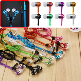 Wholesale zipper earphone universal headset made by metallic housing strong bass with microphone in multi colors use for any smartphones iphone