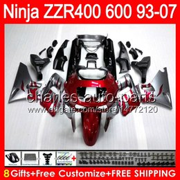 Wholesale Red flames gifts For KAWASAKI NINJA ZZR400 HM1 ZZR600 ZZR ZZR Fairing Silver
