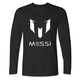 Wholesale 2017 brand cotton Barcelona MESSI Soccer Men t shirt tops Man casual sport long sleeve football t shirts Plus Size XS XXL