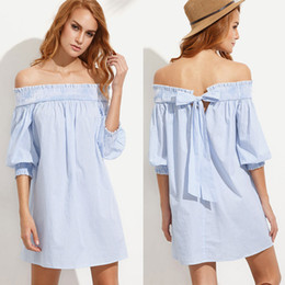 New Women Sexy Dress 2017 Summer Fashion Collar In The Back Of The Sleeves Loose Dress Summer Clothes Vestido Rayado Size S-XL