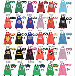 Wholesale Double side kids Superhero Capes and masks Batman Spiderman Ninja Turtles Flash Supergirl Batgirl Robin for kids capes with mask