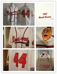 Wholesale Atlanta Braves H Aaron Cooperstown Throwback Jersey Hank Aaron cream zipper Baseball Jersey Cheap Best Stitched Embroided