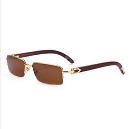 Wholesale New Fashion Brand Designer Men Wooden Sunglasses Metal Frame Semi Rimless Wood Buffalo Horn Sun Glasses Brown Gray Lenses Gold Silver oculos